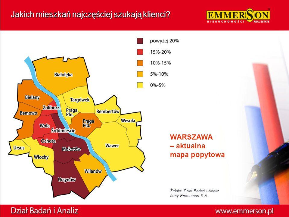 WARSZAWA – aktualna mapa popytowa Jakich mieszkań najczęściej szukają klienci.