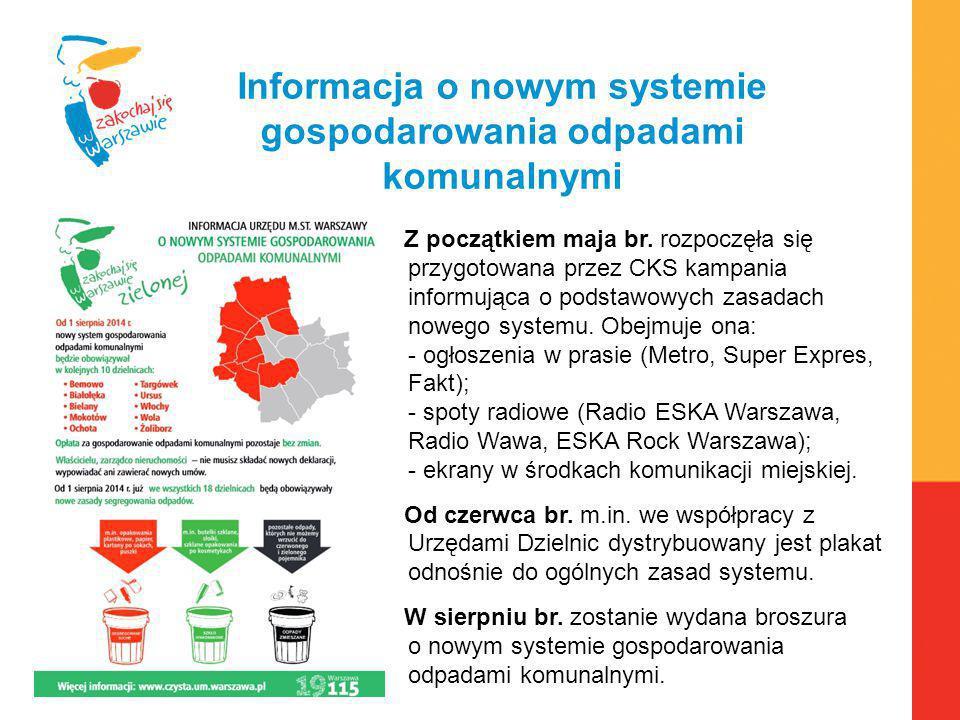 Warszawa, 6.04.2010 r. Informacja o nowym systemie gospodarowania odpadami komunalnymi Z początkiem maja br. rozpoczęła się przygotowana przez CKS kam