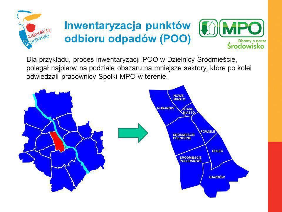 Warszawa, 6.04.2010 r. Inwentaryzacja punktów odbioru odpadów (POO) Dla przykładu, proces inwentaryzacji POO w Dzielnicy Śródmieście, polegał najpierw
