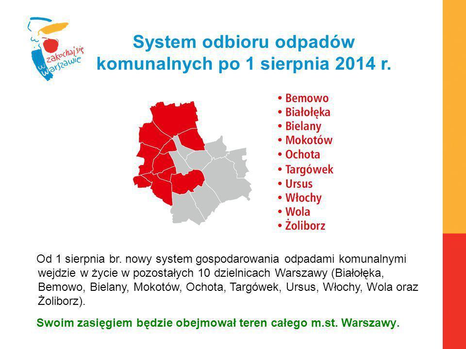 Warszawa, 6.04.2010 r. System odbioru odpadów komunalnych po 1 sierpnia 2014 r. Od 1 sierpnia br. nowy system gospodarowania odpadami komunalnymi wejd