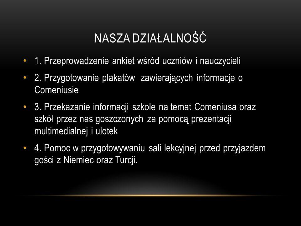 NASZA DZIAŁALNOŚĆ 1. Przeprowadzenie ankiet wśród uczniów i nauczycieli 2.