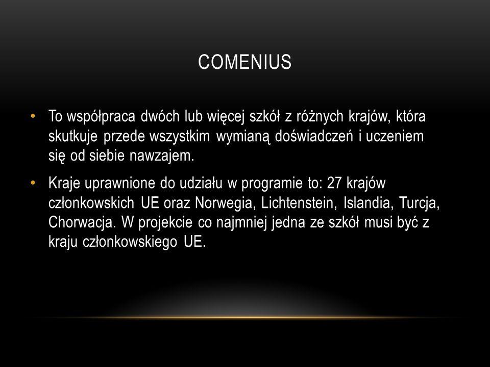 COMENIUS To współpraca dwóch lub więcej szkół z różnych krajów, która skutkuje przede wszystkim wymianą doświadczeń i uczeniem się od siebie nawzajem.