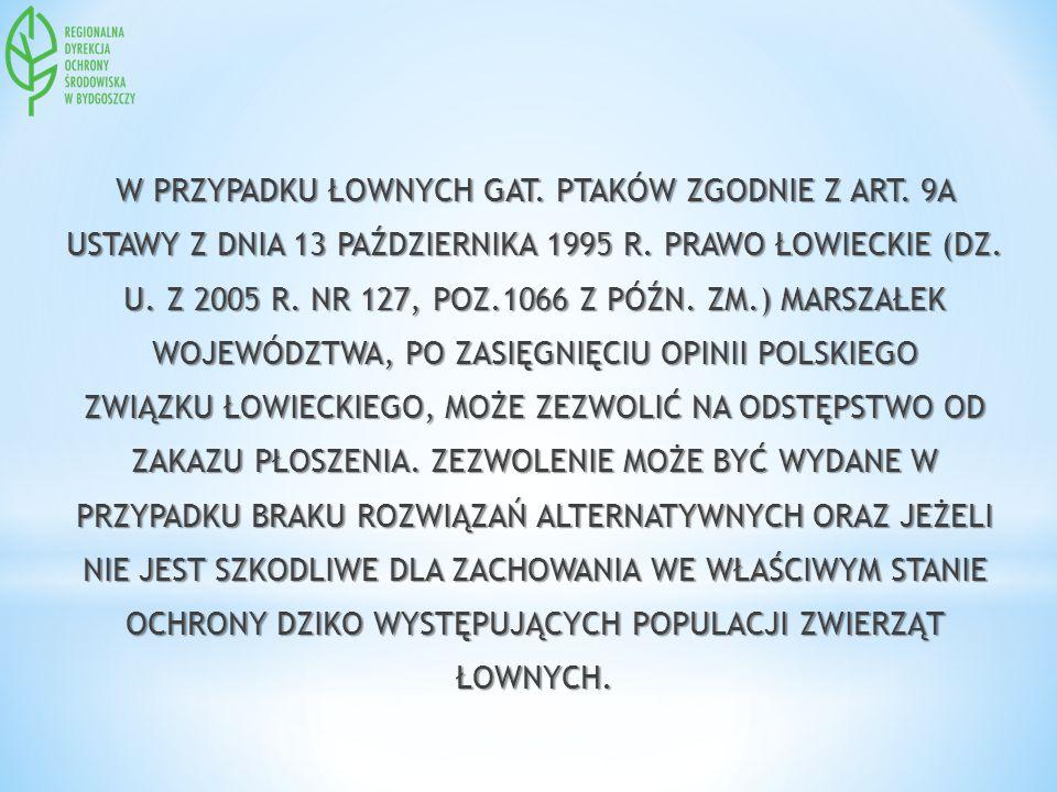 W PRZYPADKU ŁOWNYCH GAT.PTAKÓW ZGODNIE Z ART. 9A USTAWY Z DNIA 13 PAŹDZIERNIKA 1995 R.
