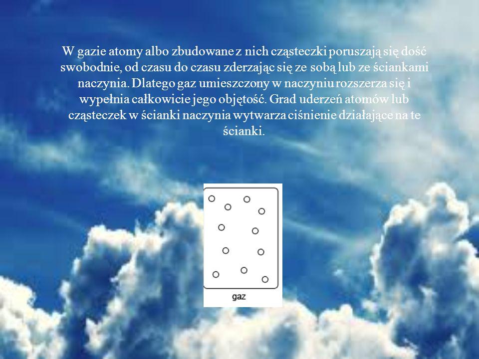 W gazie atomy albo zbudowane z nich cząsteczki poruszają się dość swobodnie, od czasu do czasu zderzając się ze sobą lub ze ściankami naczynia. Dlateg