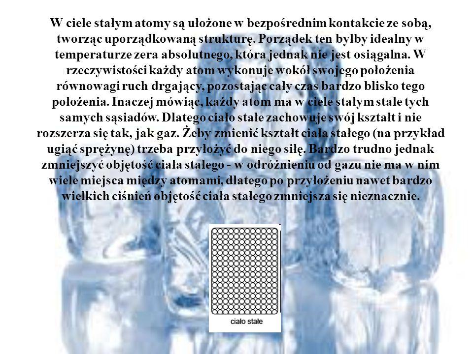 W ciele stałym atomy są ułożone w bezpośrednim kontakcie ze sobą, tworząc uporządkowaną strukturę. Porządek ten byłby idealny w temperaturze zera abso