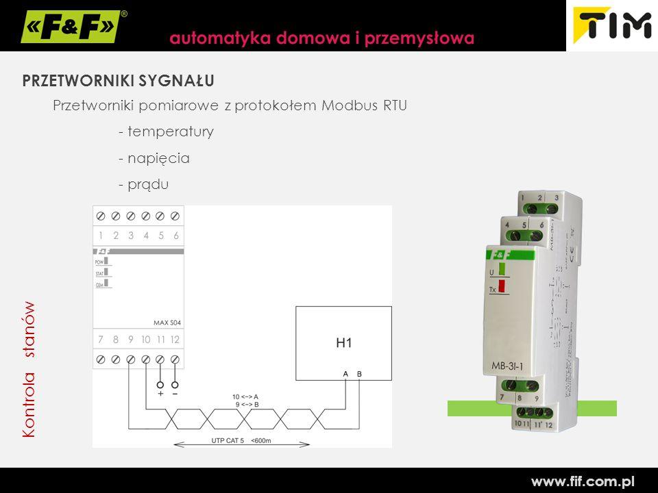 www.fif.com.pl Kontrola stanów PRZETWORNIKI SYGNAŁU Przetworniki pomiarowe z protokołem Modbus RTU - temperatury - napięcia - prądu