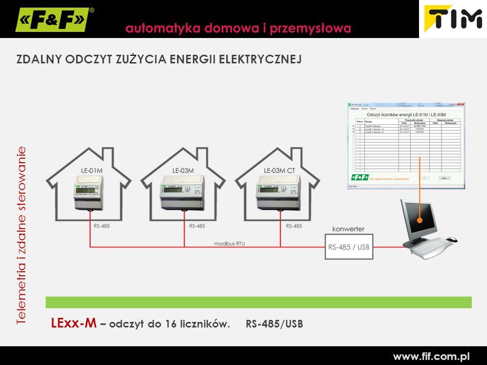 www.fif.com.pl Telemetria i zdalne sterowanie ZDALNY ODCZYT ZU Ż YCIA ENERGII ELEKTRYCZNEJ LExx-M – odczyt do 16 liczników.
