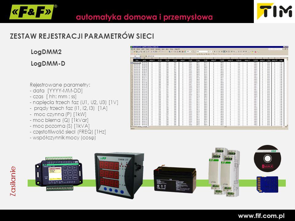 www.fif.com.pl ZESTAW REJESTRACJI PARAMETRÓW SIECI LogDMM2 LogDMM-D Rejestrowane parametry: - data [YYYY-MM-DD] - czas [ hh: mm : ss] - napięcia trzech faz (U1, U2, U3) [1V] - prądy trzech faz (I1, I2, I3) [1A] - moc czynna (P) [1kW] - moc bierna (Q) [1kVar] - moc pozorna (S) [1kVA] - częstotliwość sieci (FREQ) [1Hz] - współczynnik mocy (cosφ) Zasilanie