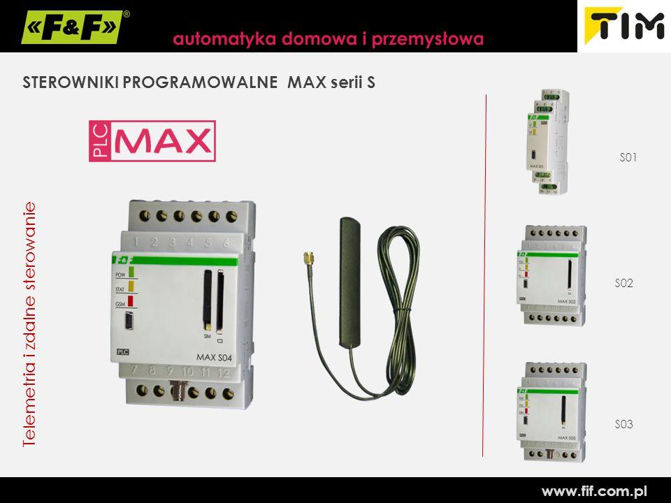 www.fif.com.pl STEROWNIKI PROGRAMOWALNE MAX serii S Telemetria i zdalne sterowanie S01 S02 S03