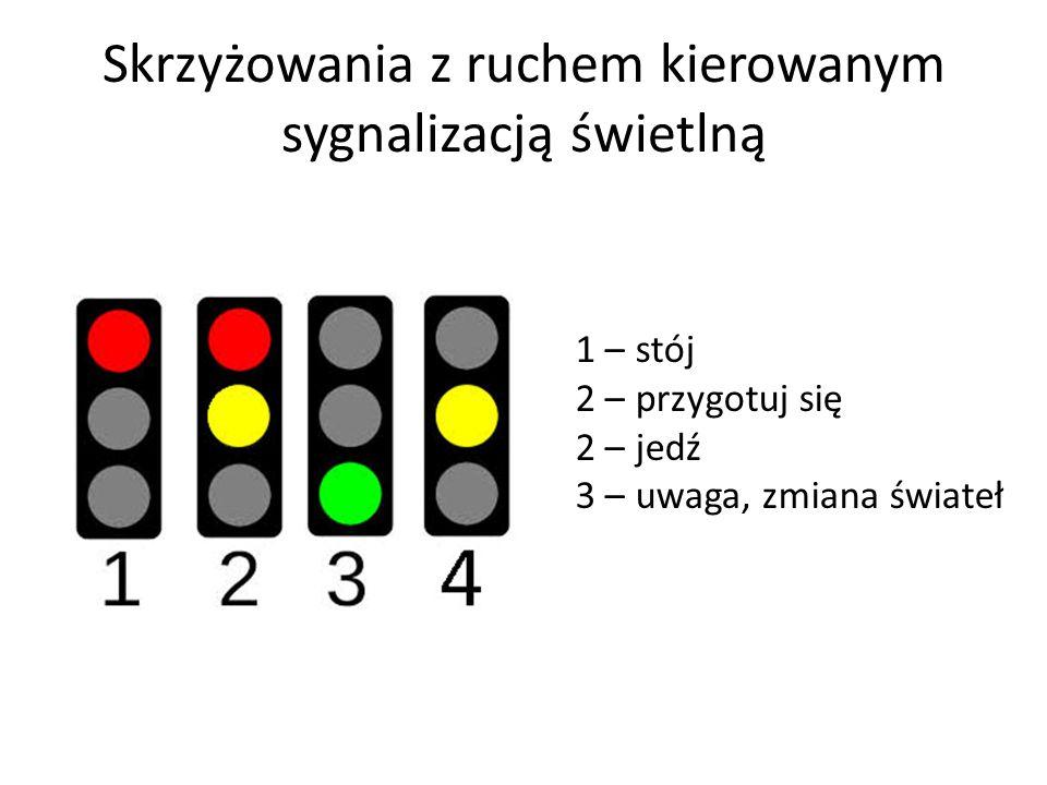 Skrzyżowania z ruchem kierowanym sygnalizacją świetlną 1 – stój 2 – przygotuj się 2 – jedź 3 – uwaga, zmiana świateł
