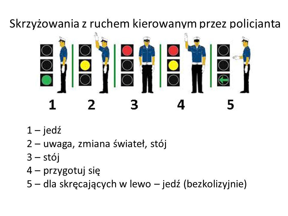 Skrzyżowania z ruchem kierowanym przez policjanta 1 – jedź 2 – uwaga, zmiana świateł, stój 3 – stój 4 – przygotuj się 5 – dla skręcających w lewo – je