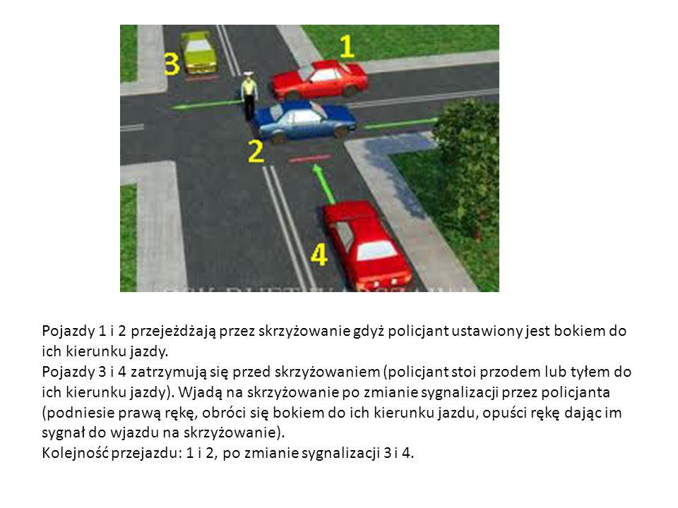 Pojazdy 1 i 2 przejeżdżają przez skrzyżowanie gdyż policjant ustawiony jest bokiem do ich kierunku jazdy. Pojazdy 3 i 4 zatrzymują się przed skrzyżowa