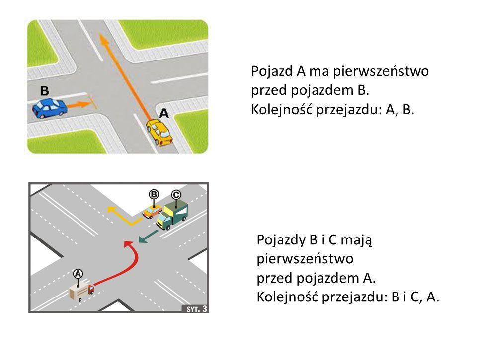 Pojazd A ma pierwszeństwo przed pojazdem B. Kolejność przejazdu: A, B. Pojazdy B i C mają pierwszeństwo przed pojazdem A. Kolejność przejazdu: B i C,