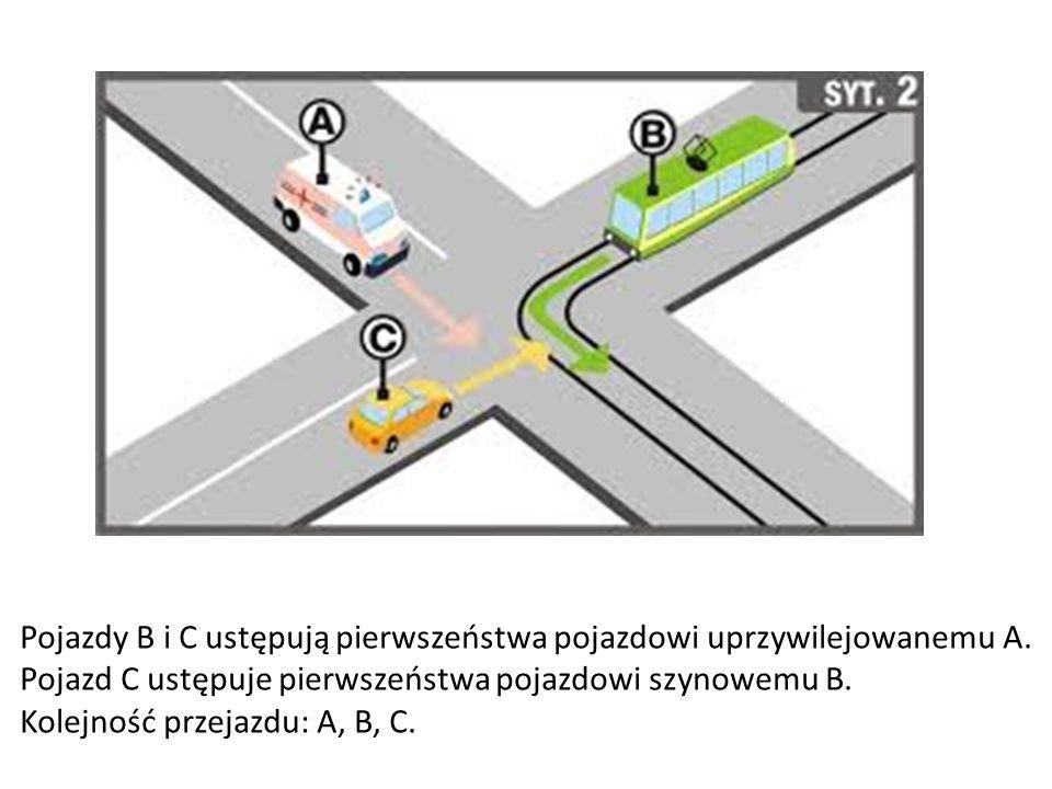 Pojazdy B i C ustępują pierwszeństwa pojazdowi uprzywilejowanemu A. Pojazd C ustępuje pierwszeństwa pojazdowi szynowemu B. Kolejność przejazdu: A, B,