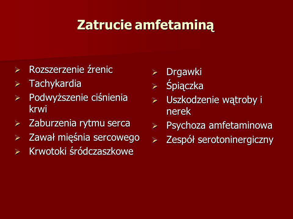  Drgawki  Śpiączka  Uszkodzenie wątroby i nerek  Psychoza amfetaminowa  Zespół serotoninergiczny  Rozszerzenie źrenic  Tachykardia  Podwyższen