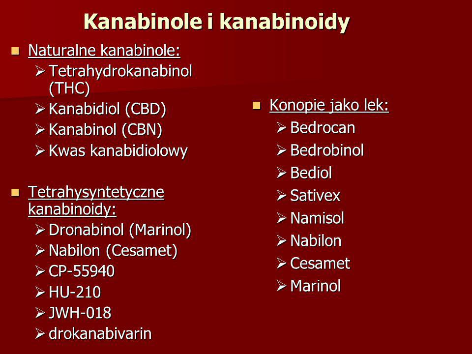 Konopie jako lek: Konopie jako lek:  Bedrocan  Bedrobinol  Bediol  Sativex  Namisol  Nabilon  Cesamet  Marinol Naturalne kanabinole: Naturalne