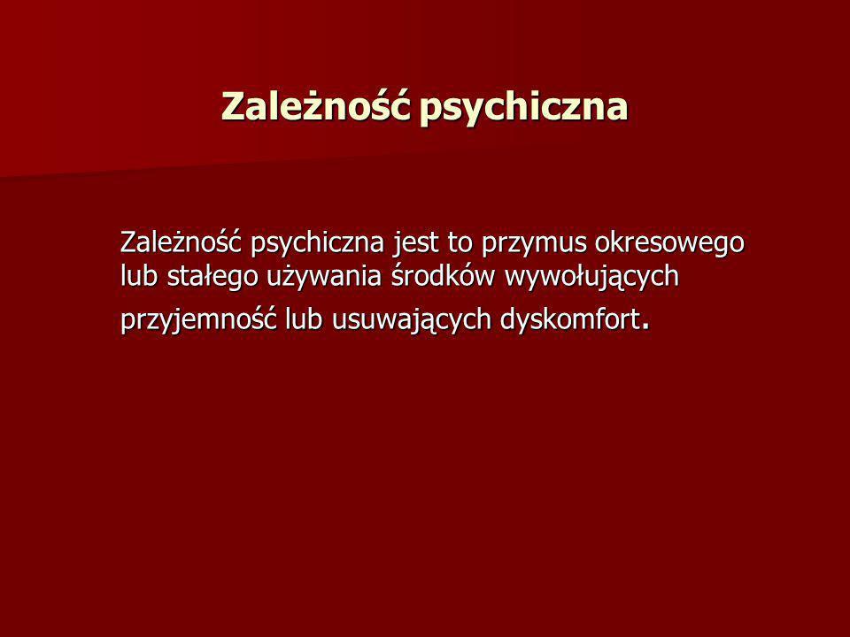 Zależność psychiczna jest to przymus okresowego lub stałego używania środków wywołujących przyjemność lub usuwających dyskomfort. Zależność psychiczna