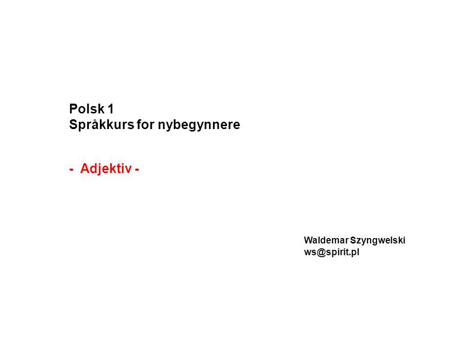 Polsk 1 Språkkurs for nybegynnere - Adjektiv - Waldemar Szyngwelski ws@spirit.pl