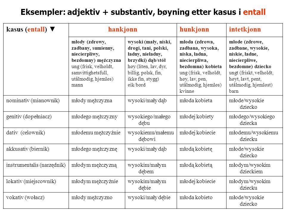 Eksempler: adjektiv + substantiv, bøyning etter kasus i entall kasus (entall) ▼hankjønnhunkjønnintetkjønn młody (zdrowy, zadbany, sumienny, niecierpli