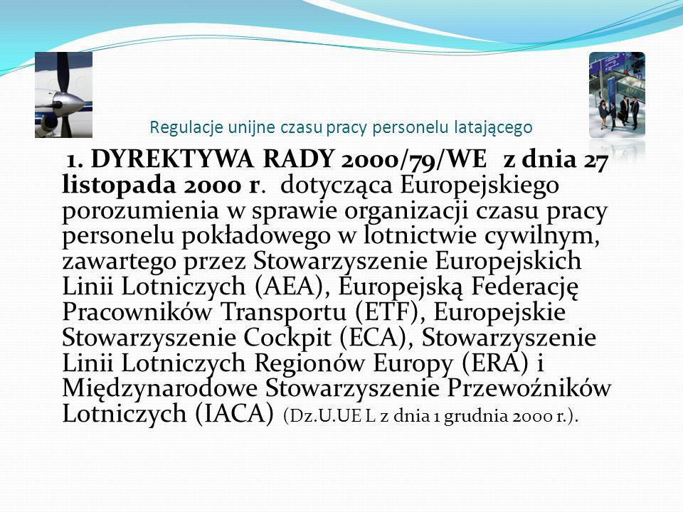 Wpływ regulacji czasu pracy na bezpieczeństwo lotów Zalecono, aby maksymalny dzienny okres FDP w razie, gdy przypada on w nocy lub w WOCL, nie przekra