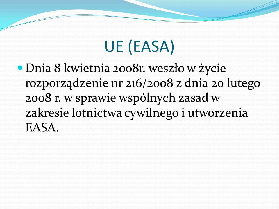 UE (EASA) Dnia 8 kwietnia 2008r.weszło w życie rozporządzenie nr 216/2008 z dnia 20 lutego 2008 r.