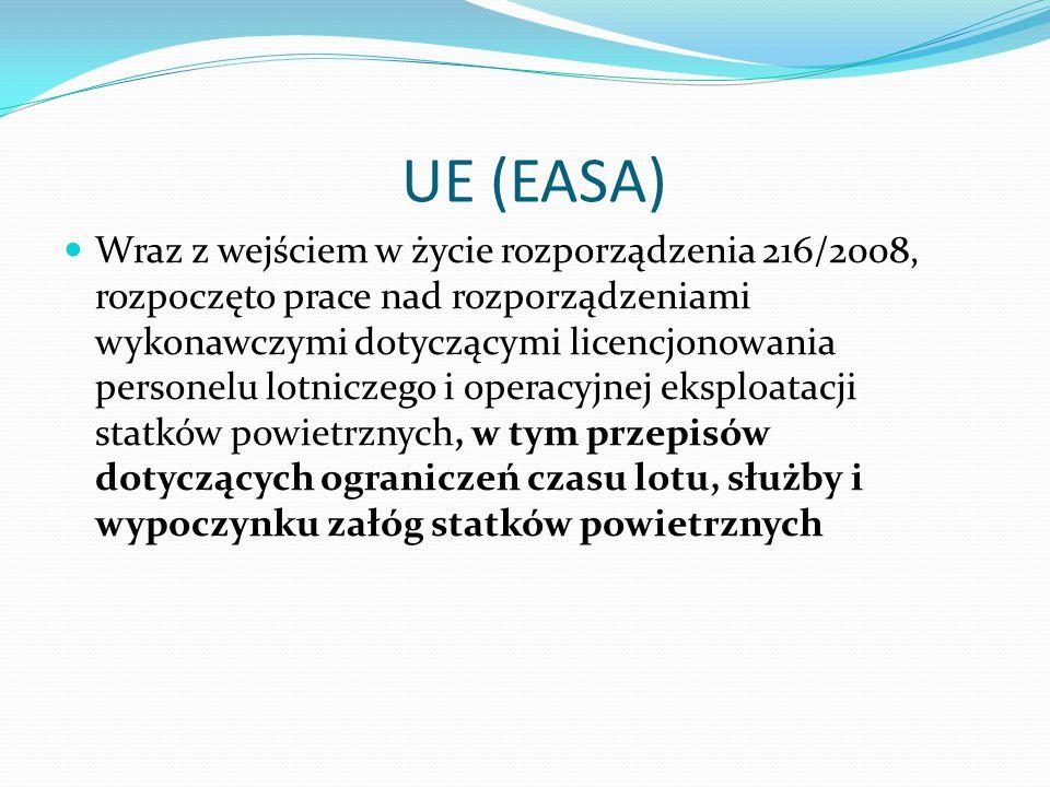 UE (EASA) Wraz z wejściem w życie rozporządzenia 216/2008, rozpoczęto prace nad rozporządzeniami wykonawczymi dotyczącymi licencjonowania personelu lotniczego i operacyjnej eksploatacji statków powietrznych, w tym przepisów dotyczących ograniczeń czasu lotu, służby i wypoczynku załóg statków powietrznych