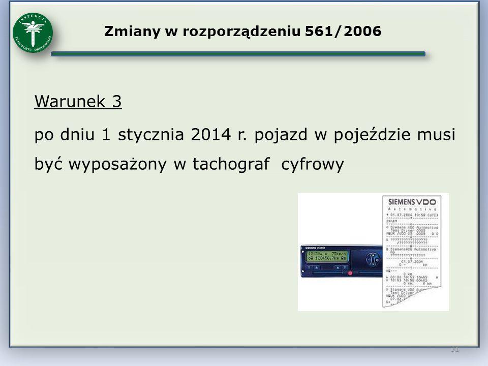 31 Zmiany w rozporządzeniu 561/2006 Warunek 3 po dniu 1 stycznia 2014 r. pojazd w pojeździe musi być wyposażony w tachograf cyfrowy