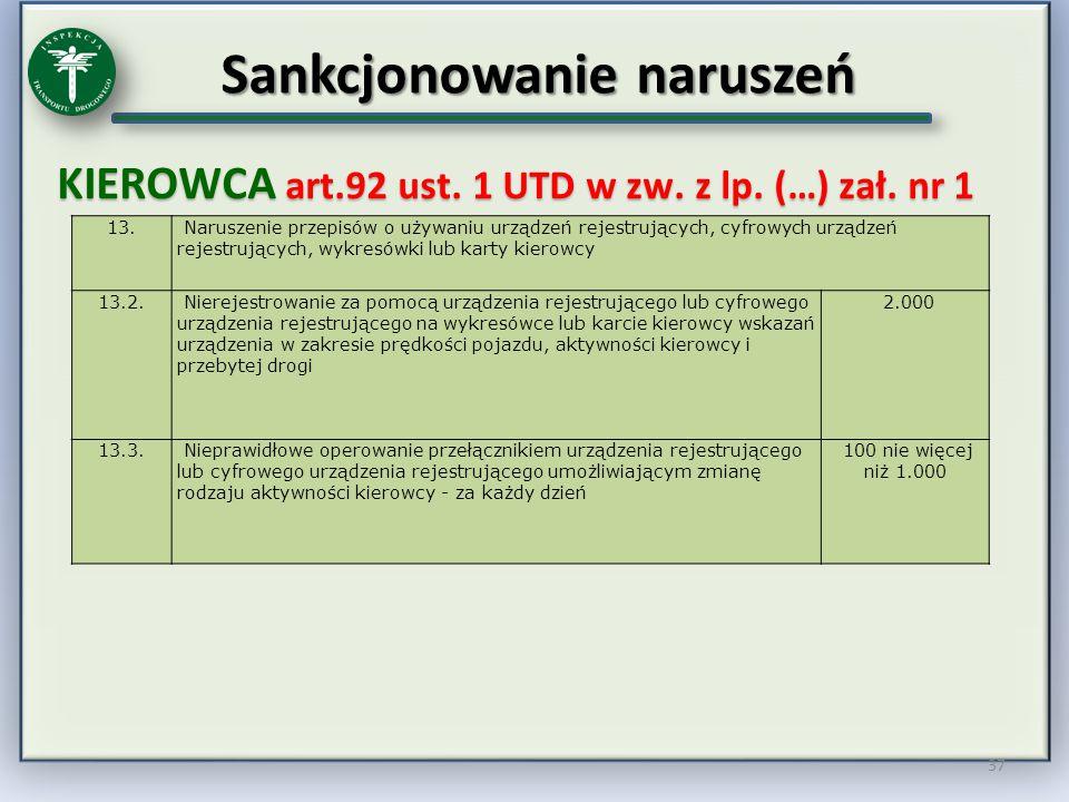 Sankcjonowanie naruszeń KIEROWCA art.92 ust. 1 UTD w zw. z lp. (…) zał. nr 1 37 13. Naruszenie przepisów o używaniu urządzeń rejestrujących, cyfrowych