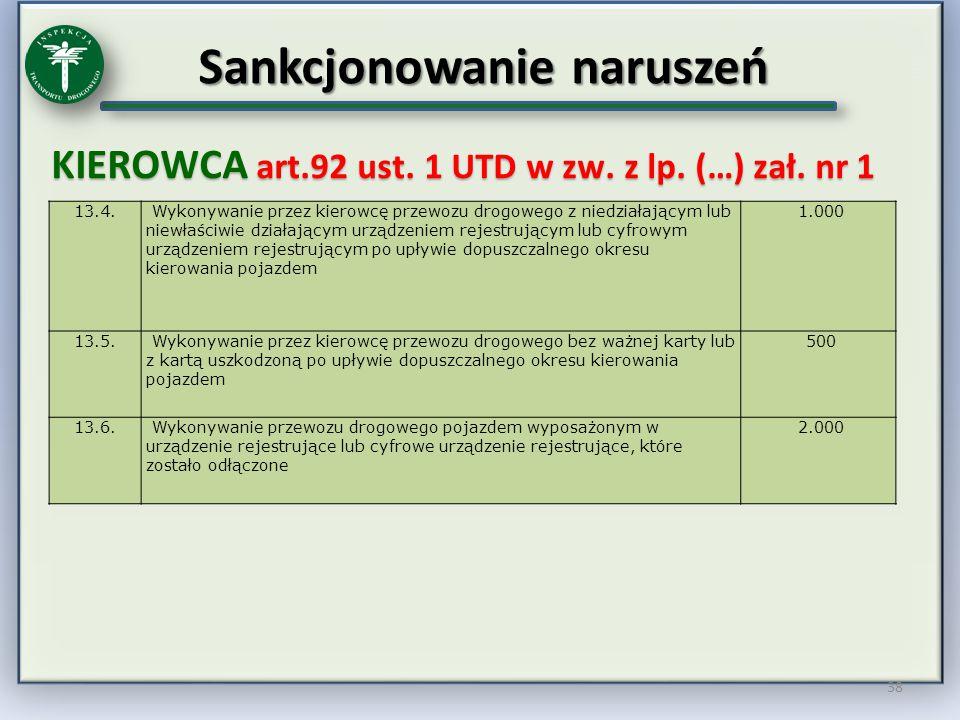 Sankcjonowanie naruszeń KIEROWCA art.92 ust. 1 UTD w zw. z lp. (…) zał. nr 1 38 13.4. Wykonywanie przez kierowcę przewozu drogowego z niedziałającym l