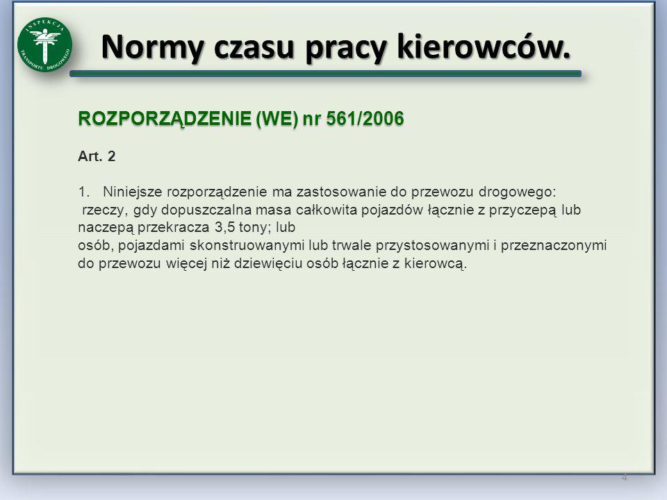 Normy czasu pracy kierowców.5 ROZPORZĄDZENIE (WE) nr 561/2006 Art.