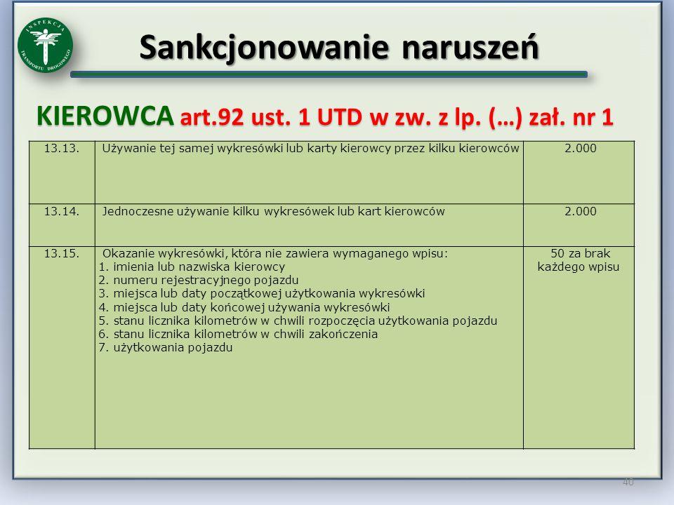 Sankcjonowanie naruszeń KIEROWCA art.92 ust. 1 UTD w zw. z lp. (…) zał. nr 1 40 13.13. Używanie tej samej wykresówki lub karty kierowcy przez kilku ki