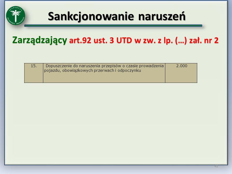 Sankcjonowanie naruszeń Zarządzający art.92 ust. 3 UTD w zw. z lp. (…) zał. nr 2 42 15. Dopuszczenie do naruszenia przepisów o czasie prowadzenia poja