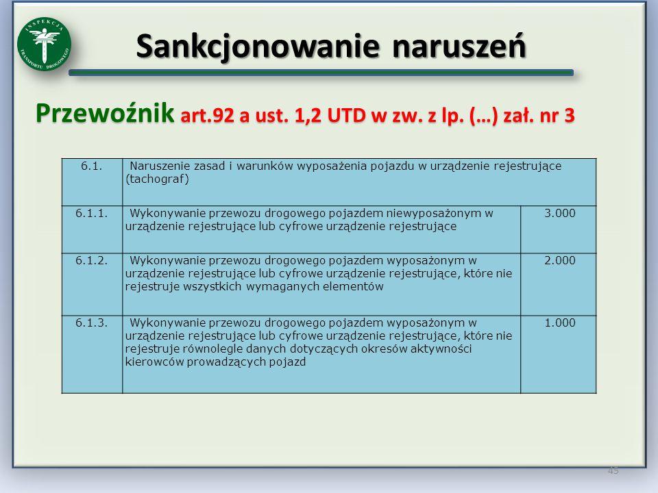 Sankcjonowanie naruszeń Przewoźnik art.92 a ust. 1,2 UTD w zw. z lp. (…) zał. nr 3 45 6.1. Naruszenie zasad i warunków wyposażenia pojazdu w urządzeni