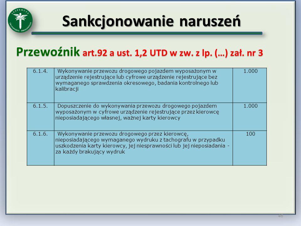 Sankcjonowanie naruszeń Przewoźnik art.92 a ust. 1,2 UTD w zw. z lp. (…) zał. nr 3 46 6.1.4. Wykonywanie przewozu drogowego pojazdem wyposażonym w urz