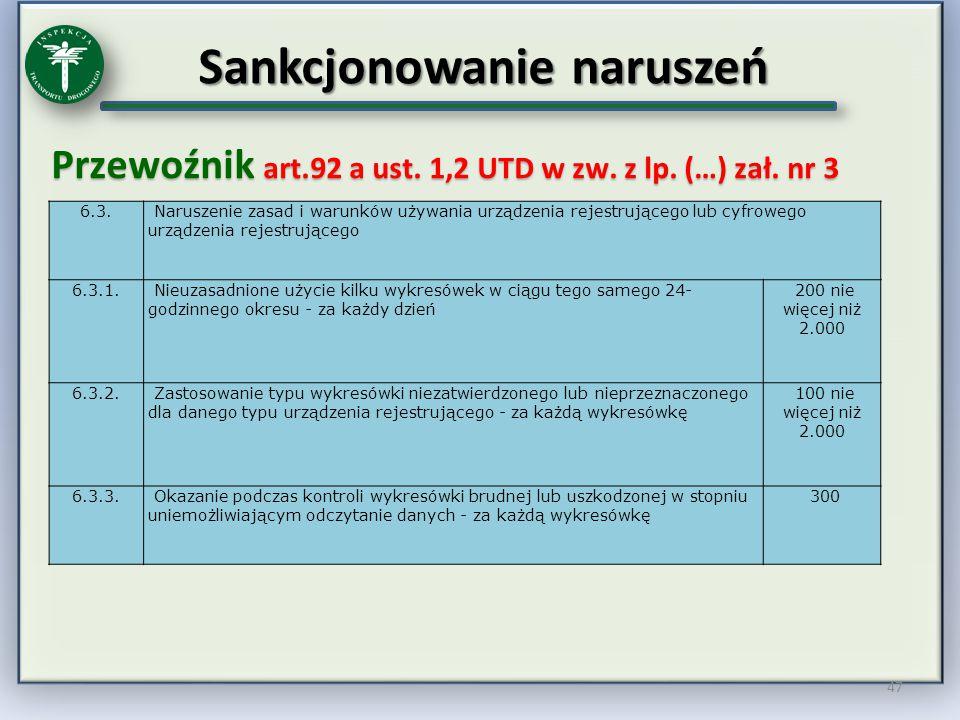 Sankcjonowanie naruszeń Przewoźnik art.92 a ust. 1,2 UTD w zw. z lp. (…) zał. nr 3 47 6.3. Naruszenie zasad i warunków używania urządzenia rejestrując