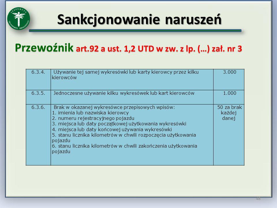Sankcjonowanie naruszeń Przewoźnik art.92 a ust. 1,2 UTD w zw. z lp. (…) zał. nr 3 48 6.3.4. Używanie tej samej wykresówki lub karty kierowcy przez ki