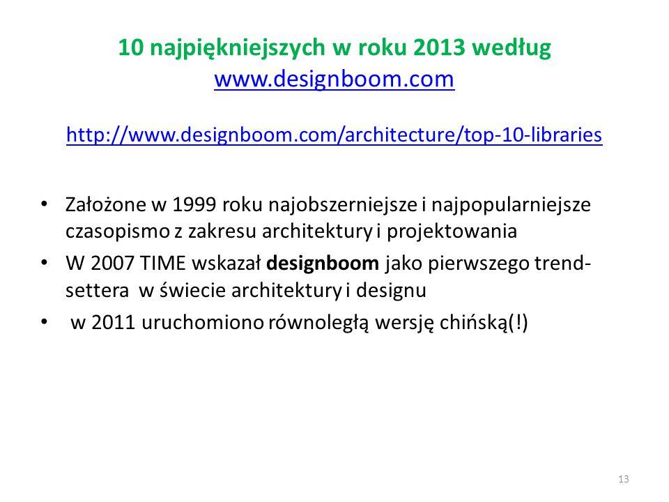 10 najpiękniejszych w roku 2013 według www.designboom.com www.designboom.com http://www.designboom.com/architecture/top-10-libraries Założone w 1999 r
