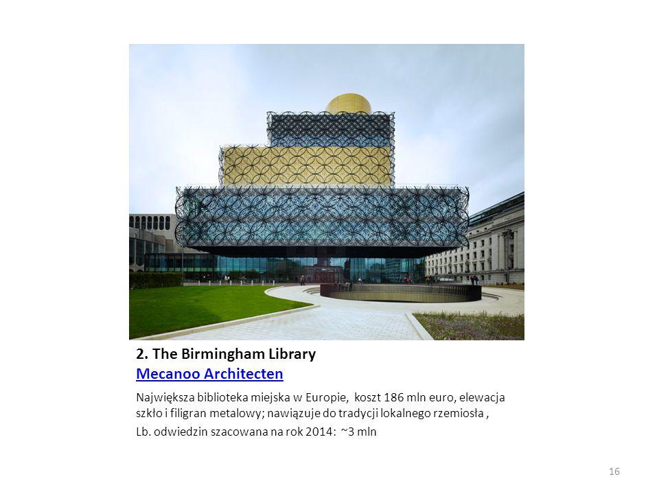 2. The Birmingham Library Mecanoo Architecten Mecanoo Architecten Największa biblioteka miejska w Europie, koszt 186 mln euro, elewacja szkło i filigr
