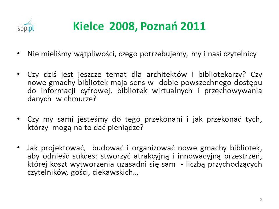 Kielce 2008, Poznań 2011 Nie mieliśmy wątpliwości, czego potrzebujemy, my i nasi czytelnicy Czy dziś jest jeszcze temat dla architektów i bibliotekarz