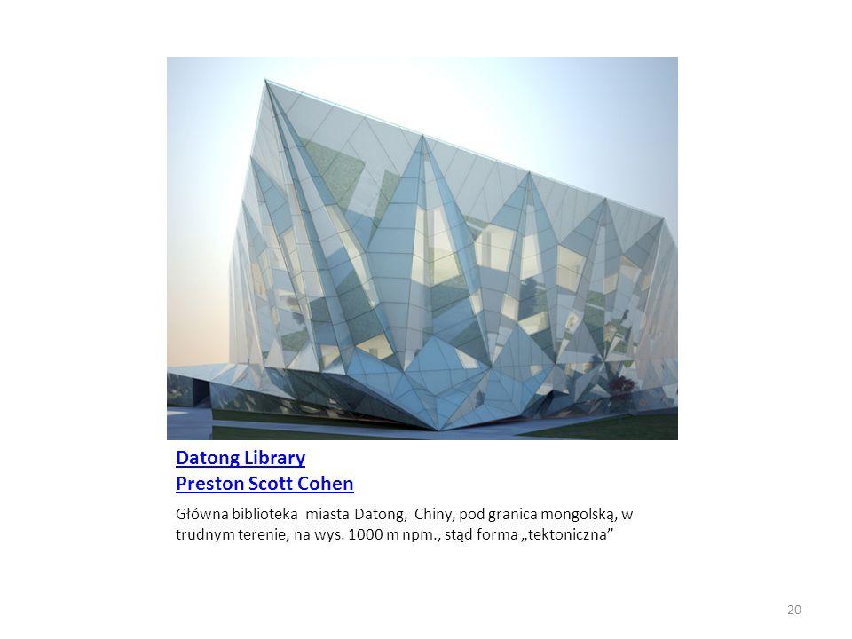 """Datong Library Preston Scott Cohen Główna biblioteka miasta Datong, Chiny, pod granica mongolską, w trudnym terenie, na wys. 1000 m npm., stąd forma """""""