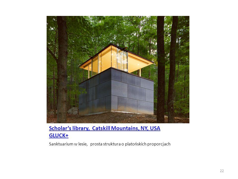 Scholar's library, Catskill Mountains, NY, USA GLUCK+ Sanktuarium w lesie, prosta struktura o platońskich proporcjach 22