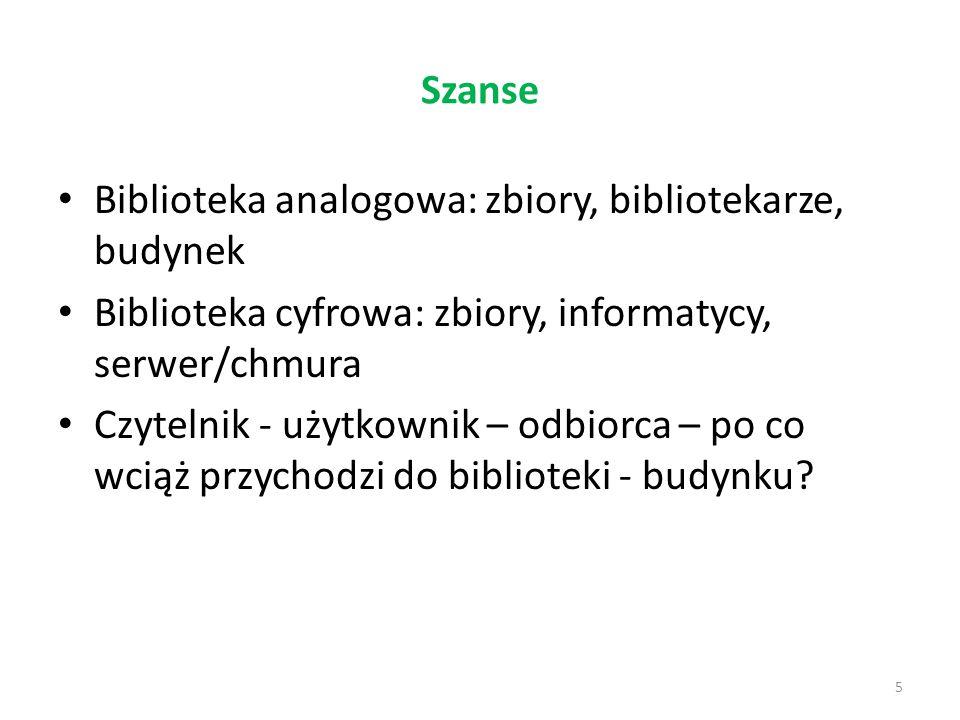 Szanse 5 Biblioteka analogowa: zbiory, bibliotekarze, budynek Biblioteka cyfrowa: zbiory, informatycy, serwer/chmura Czytelnik - użytkownik – odbiorca