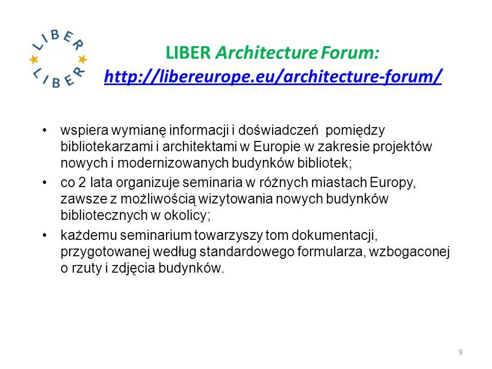 LIBER Architecture Forum: http://libereurope.eu/architecture-forum/ http://libereurope.eu/architecture-forum/ wspiera wymianę informacji i doświadczeń