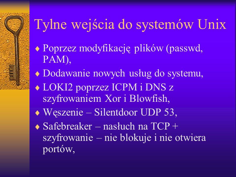 Tylne wejścia do systemów Unix  Poprzez modyfikację plików (passwd, PAM),  Dodawanie nowych usług do systemu,  LOKI2 poprzez ICPM i DNS z szyfrowan