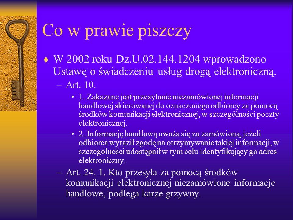 Co w prawie piszczy  W 2002 roku Dz.U.02.144.1204 wprowadzono Ustawę o świadczeniu usług drogą elektroniczną. –Art. 10. 1. Zakazane jest przesyłanie