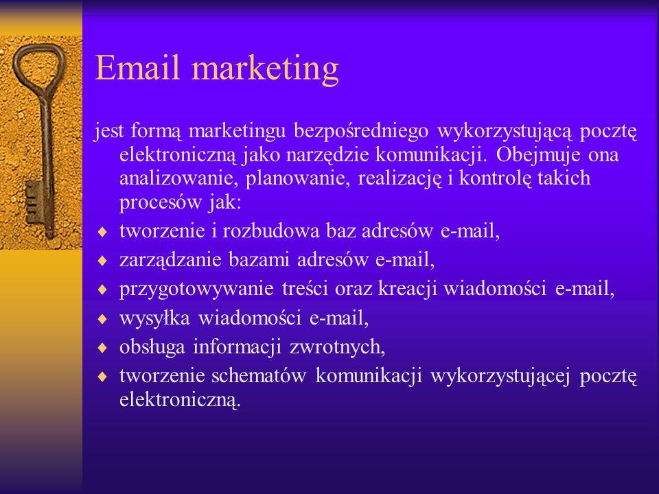 Zadania Email marketingu  Budowę lojalności konsumenckiej,  Tworzenie relacji z odbiorcami,  Budowę pożądanego wizerunku firmy,  Wspieranie sprzedaży.