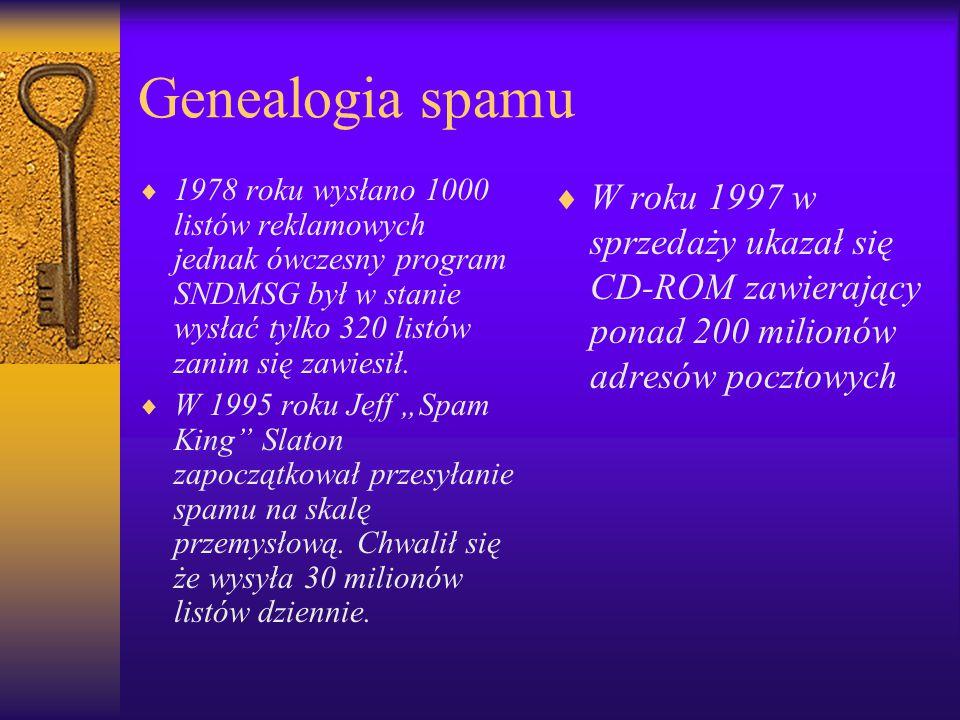 Genealogia spamu  1978 roku wysłano 1000 listów reklamowych jednak ówczesny program SNDMSG był w stanie wysłać tylko 320 listów zanim się zawiesił. 