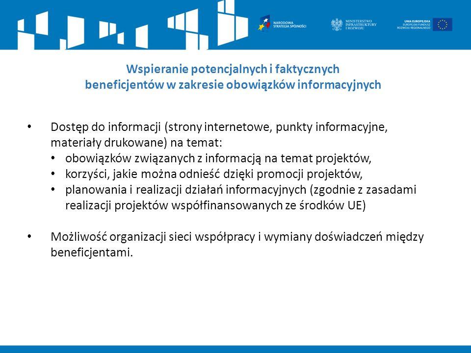 Dostęp do informacji (strony internetowe, punkty informacyjne, materiały drukowane) na temat: obowiązków związanych z informacją na temat projektów, k