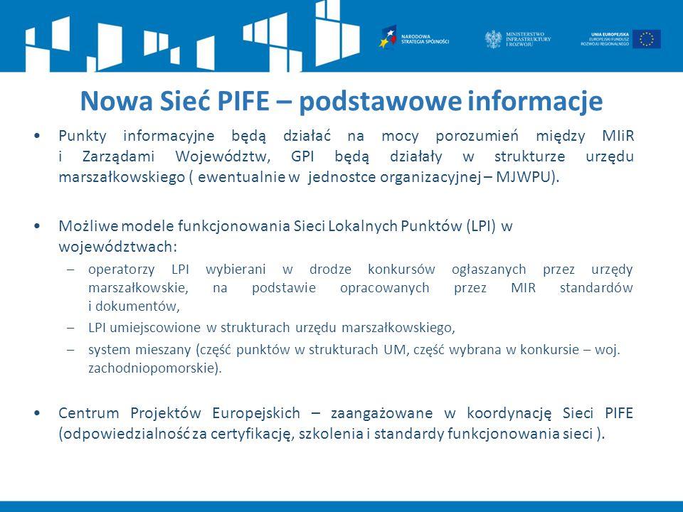 Nowa Sieć PIFE – podstawowe informacje Punkty informacyjne będą działać na mocy porozumień między MIiR i Zarządami Województw, GPI będą działały w str