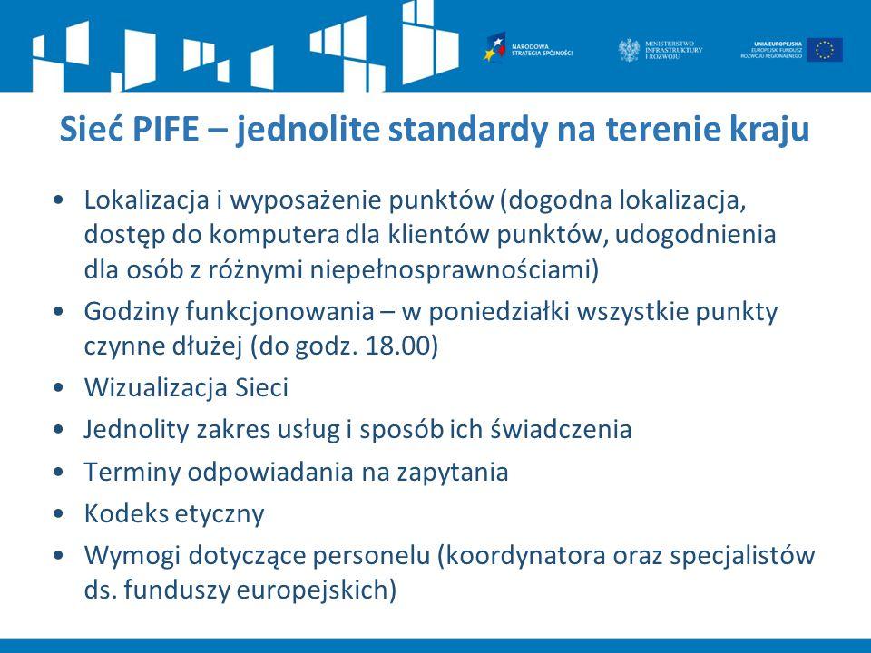 Sieć PIFE – jednolite standardy na terenie kraju Lokalizacja i wyposażenie punktów (dogodna lokalizacja, dostęp do komputera dla klientów punktów, udo